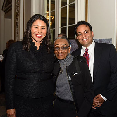 Mayor London Breed, Honorree Hulda Brown, and Executive Director Kaushik Roy
