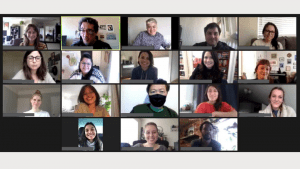 Photo of peer support volunteer trainees on Zoom
