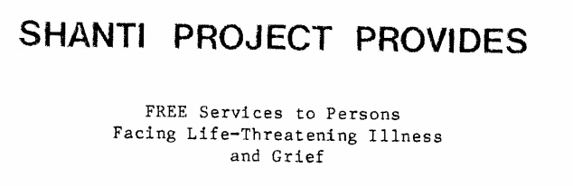 Ad for free services to persons with life-threatening illness or grief, 1983